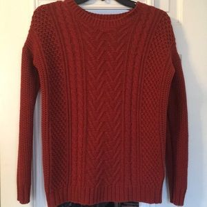 Cable Knit Orange Sweater